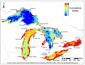 The red around the Wasaga Beach and Collingwood area of Georgian Bay shows how extremely stressed our area is compared to the rest of the Lake Huron and other Great Lakes areas.