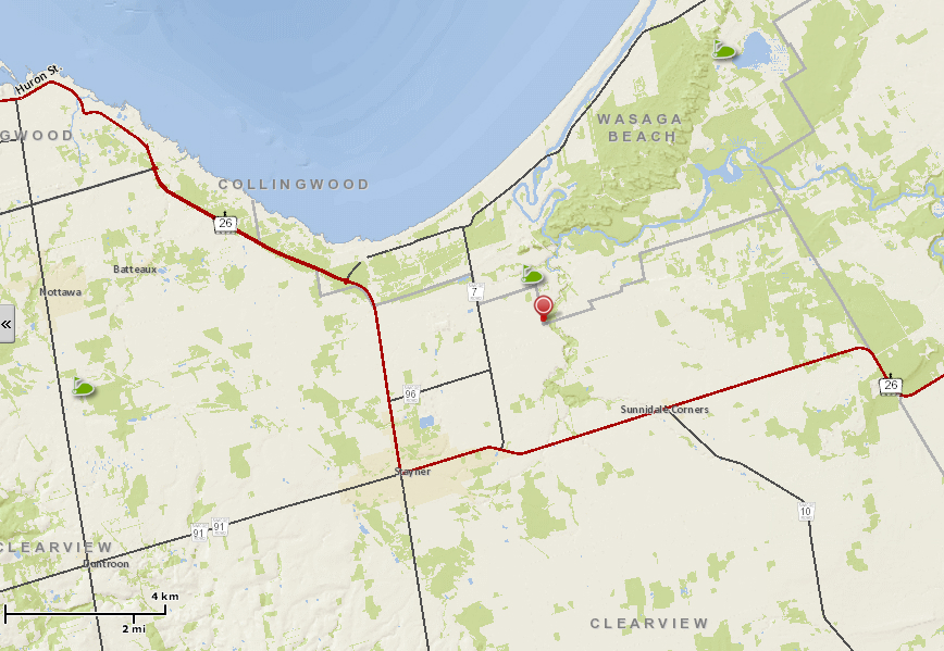Here's a map showing how wonderfully central Blake Court is to Wasaga Beach, Collingwood and Stayner.